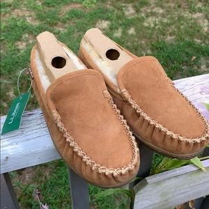 L.L. Bean size 9 men's leather and lamb slippers.